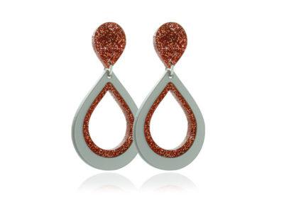 Duo Glitter II Copper Acrylic -Earrings