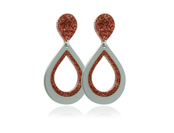 Duo Sparkle II Orange Acrylic Earrings Pixalum