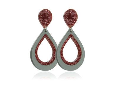 Duo Glitter-Pink II-acrylic Earrings