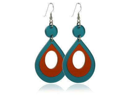 Duo Cosmos Turquoise-&-Orange-Earrings