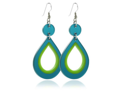 Duo Brights Turquoise & Green Acrylic Earrings