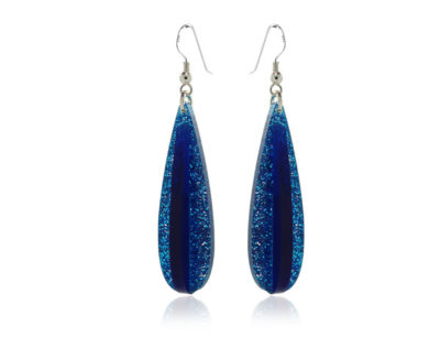 Duo Droplet-Blue-Sparkle Acrylic-Earrings