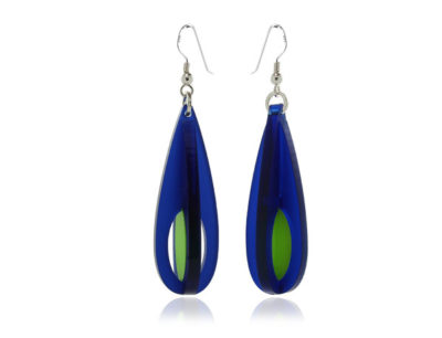 Duo Droplet-Frost-Blue-and-Lime-Green-Acrylic Earrings