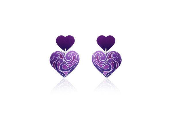 Amour Purple aluminium earrings